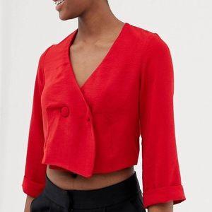 ASOS Red crop blazer style button top